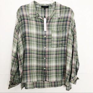 NWT Sanctuary plaid button down boyfriend shirt